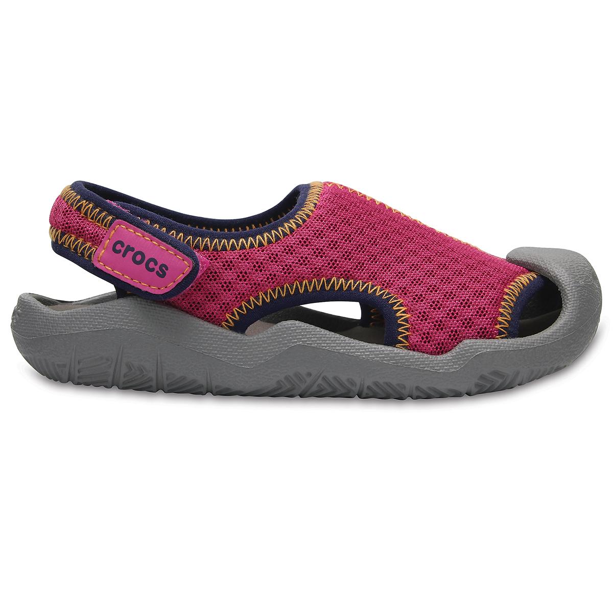 Crocs Swiftwater Sandal K - Neon Pembe/Duman