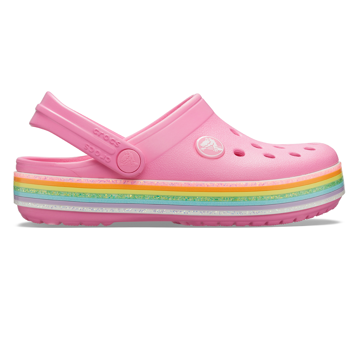 Crocband Rainbow Glitter Clg K-Pembe limonata