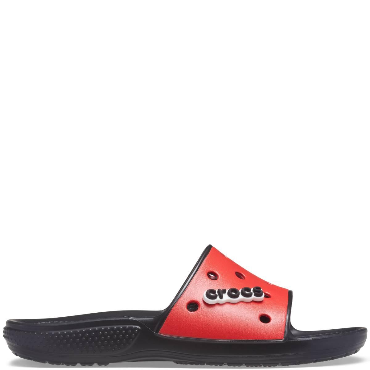Classic Crocs Colorblock Slide - Siyah kırmızı