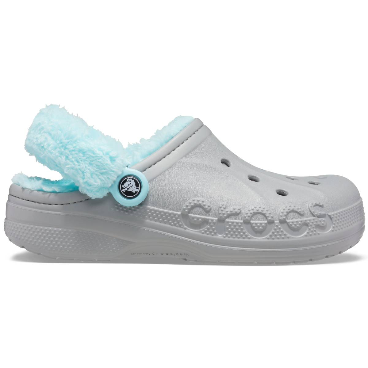 Baya Lined Fuzz Strap Clog - Light Grey/Ice Blue