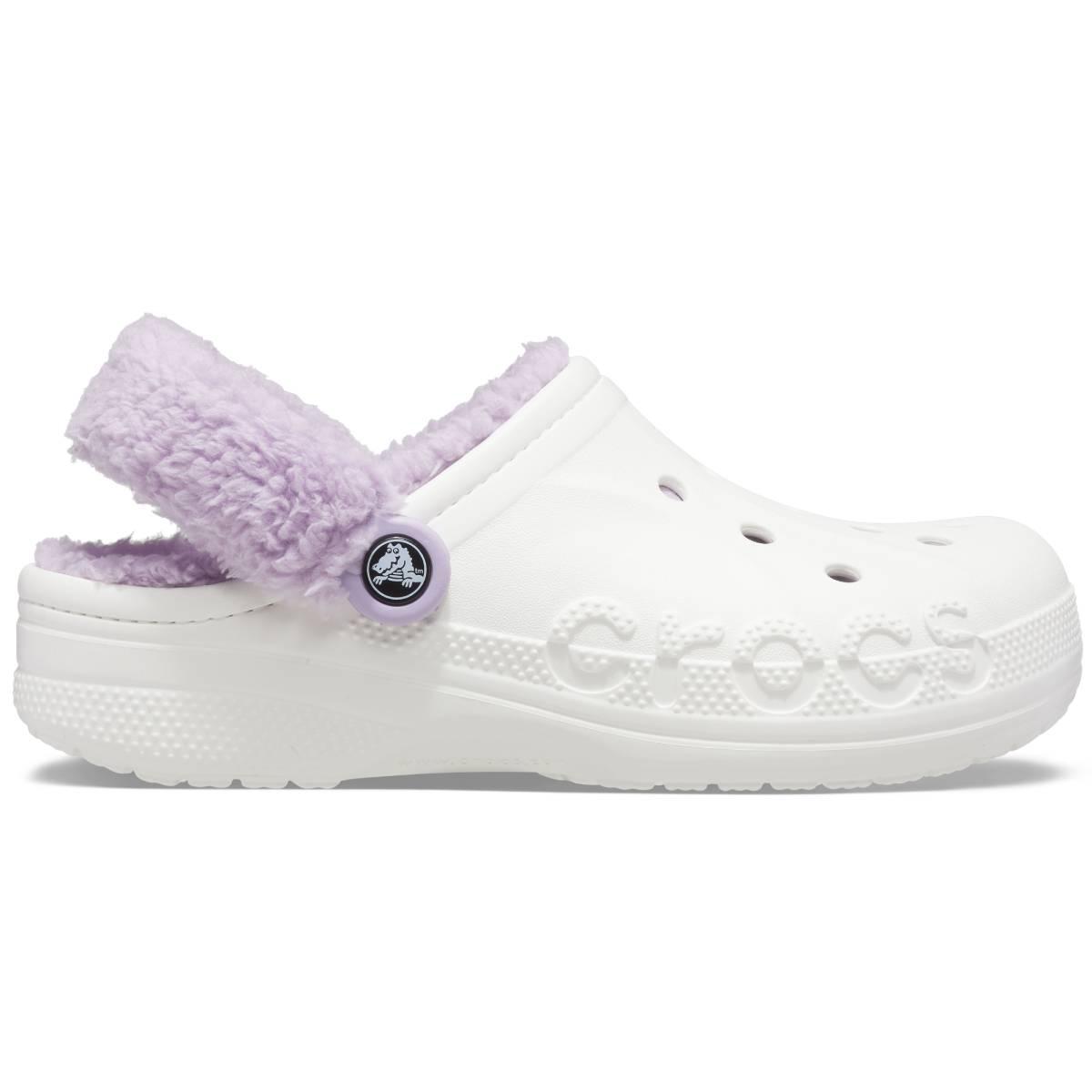 Baya Lined Fuzz Strap Clog - White/Lavender